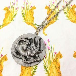70s Capricorn Astrology Zodiac Medallion Necklace